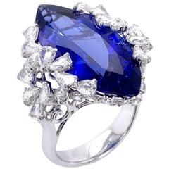 Paris Craft House 12.90 Carat Tanzanite Diamond Ring in 18 Karat White Gold