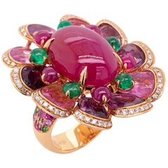 Paris Craft House 13.51 Carat Cabochon Ruby Sapphire Emerald Diamond Flower Ring