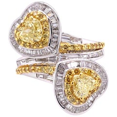 Paris Craft House 1.41ct GIA Yellow Diamond Ring in 18 Karat White/Yellow Gold