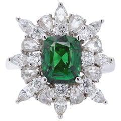 Paris Craft House 1.56 Carat Tsavorite Diamond Ring in 18 Karat White Gold