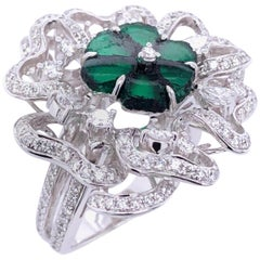 Paris Craft House 1.87ct Rough-Cut Emerald Diamond Flower Cocktail Ring in Gold
