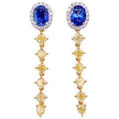 Paris Craft House 2.01ct Blue Sapphire Yellow Diamond Earrings in 18 Karat Gold