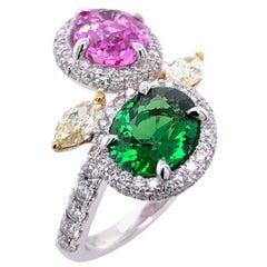 Paris Craft House 2.02ct Pink Sapphire 1.66ct Green Garnet Yellow Diamond Ring