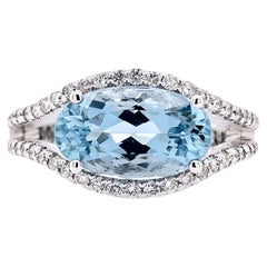 Paris Craft House 2.81 Carat Aquamarine Diamond Ring in 18 Karat White Gold