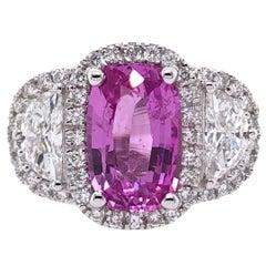 Paris Craft House 2.85ct Pink Sapphire Diamond Ring in 18 Karat White Gold