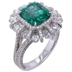 Paris Craft House 2.98 Carat Emerald Diamond Ring in 18 Karat White Gold