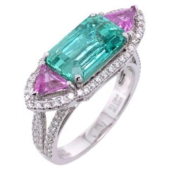 Paris Craft House 3.24 Carat GRS Certified Emerald Pink Sapphire Diamond Ring
