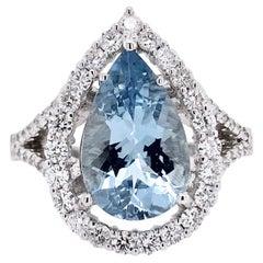 Paris Craft House 3.39 Carat Aquamarine Diamond Ring in 18 Karat White Gold