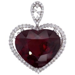 Paris Craft House 35.21 Carat Rubellite Diamond Heart Pendant in 18 Karat Gold