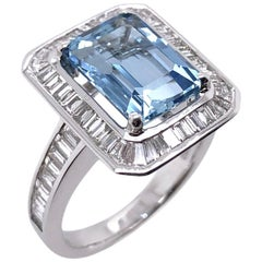 Paris Craft House 3.63 Carat Aquamarine Diamond Ring in 18 Karat White Gold