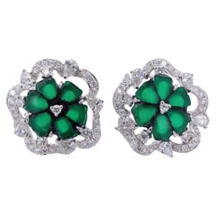 Paris Craft House 3.69ct Rough-Cut Emerald Diamond Stud Earrings in White Gold