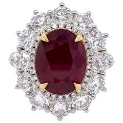 Paris Craft House 4.18 Carat GRS Mozambique Ruby Diamond Ring in Platinum