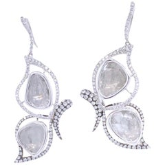 Paris Craft House 4.29 Carat Diamond Butterfly Earrings in 18 Karat White Gold