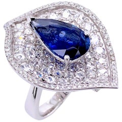 Paris Craft House 4.47ct Blue Sapphire Diamond Cocktail Ring in 18 Karat Gold