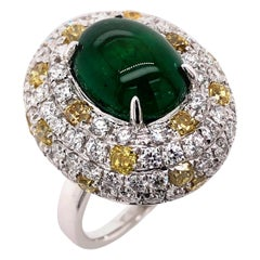 Paris Craft House 5.31 Carat Cabochon Emerald Yellow Diamond Ring in 18K Gold