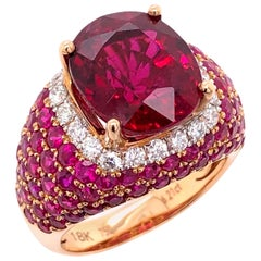 Paris Craft House 6.21 Carat Rubellite Ruby Diamond Ring in 18 Karat Rose Gold
