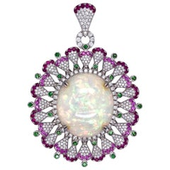 Paris Craft House 73.60ct Opal Tsavorite Ruby Sapphire Diamond Pendant in Gold