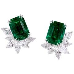 Paris Craft House 7.58 Carat GRS Emerald Diamond Earrings in 18 Karat White Gold