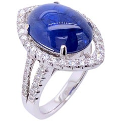 Paris Craft House 8.63 Carat GRS Burma Unheated Cabochon Sapphire Diamond Ring