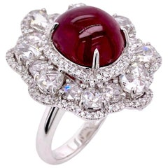 Paris Craft House 9.09ct YSP Mozambique Cabochon Ruby Diamond Ring in 18k Gold
