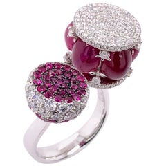 Paris Craft House 9.33 Carat Cabochon Ruby Diamond Ring in 18 Karat White Gold
