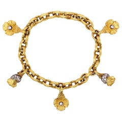 Paris Craft House Antique Diamond Bracelet in 18 Karat Yellow Gold