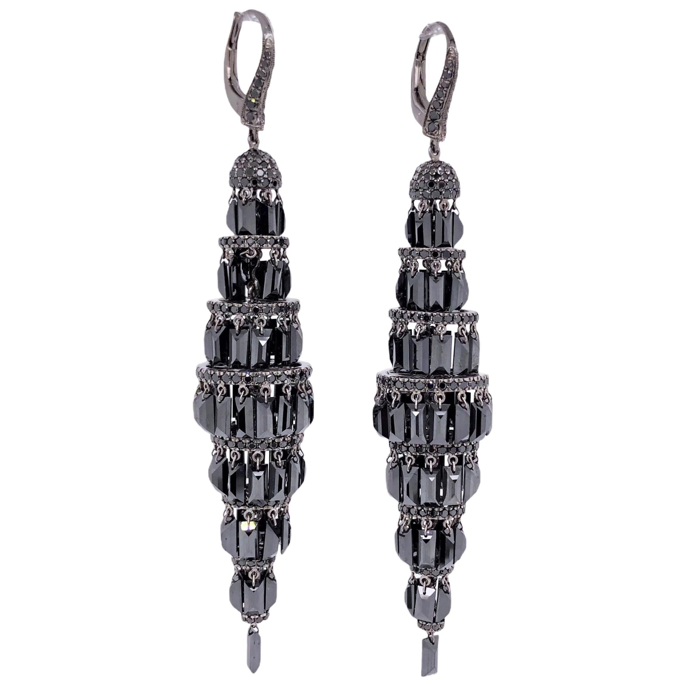 Paris Craft House Black Diamond Chandelier Earrings in 18 Karat Gold