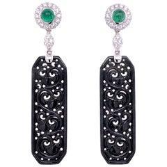 Paris Craft House Black Jadeite Emerald Diamond Earrings in 18 Karat White Gold