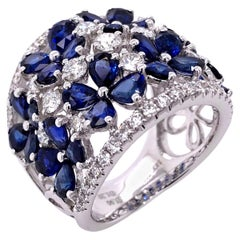 Paris Craft House Blue Sapphire Diamond Floral Ring in 18 Karat White Gold