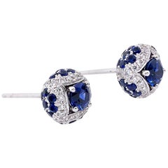 Paris Craft House Blue Sapphire Diamond Stud Earrings in 18 Karat White Gold