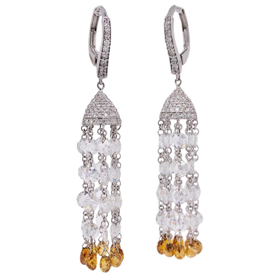 Paris Craft House Briolette Diamond Earrings in 18 Karat White Gold