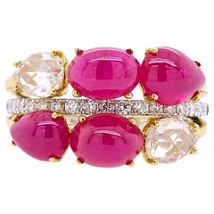 Paris Craft House Cabochon Ruby Diamond Cluster Ring in 18k White/Yellow Gold