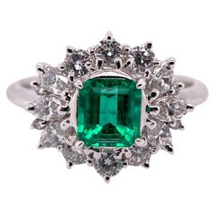 Paris Craft House Columbia Vivid Green Emerald Diamond Ring in Platinum