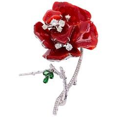 Paris Craft House Coral Garnet Diamond Flower Brooch in 18 Karat White Gold