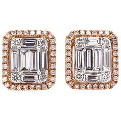 Paris Craft House Diamond Earrings in 18 Karat White Rose Gold