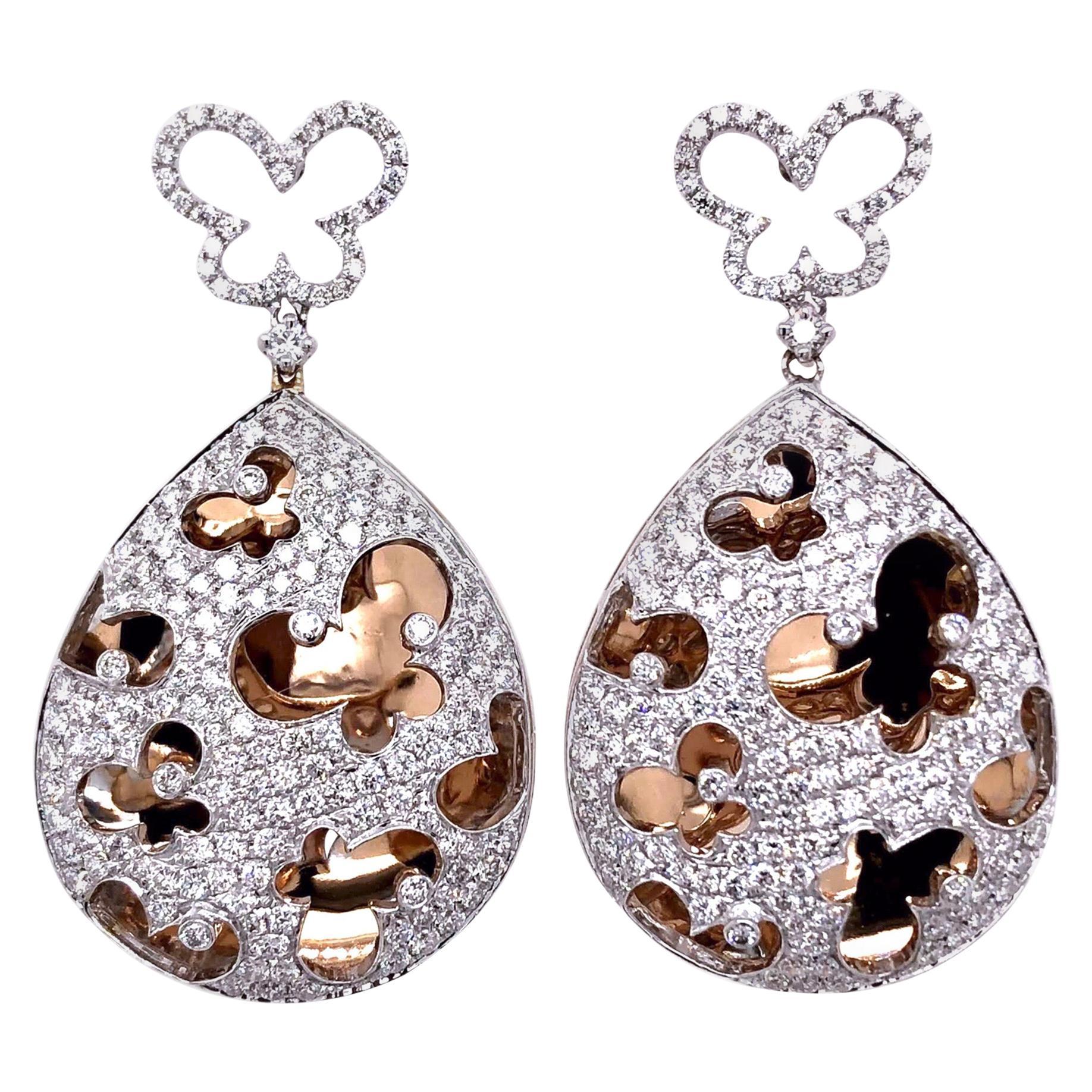 Paris Craft House Diamond Earrings in 18 Karat White/Rose Gold