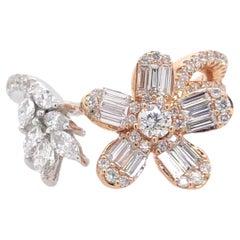 Paris Craft House Diamond Floral Ring in 18 Karat White or Rose Gold