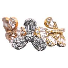 Paris Craft House Diamond Flower Ring in 18 Karat White/Yellow/Rose Gold