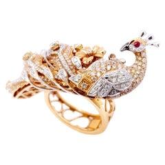Paris Craft House Diamond Ruby Peacock Bird Ring in 18 Karat White and Rose Gold