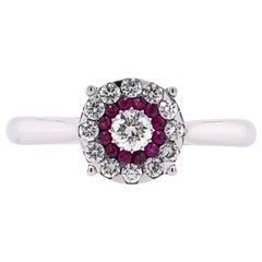 Paris Craft House Diamond Ruby Ring in 18 Karat White Gold