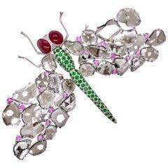 Paris Craft House Diamond Sapphire Garnet Dragonfly Brooch in 18 Karat Gold