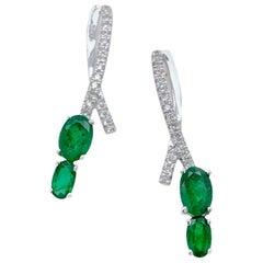 Paris Craft House Emerald Diamond Earrings in 18 Karat White Gold