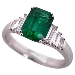 Paris Craft House Emerald Diamond Signet Ring in 18 Karat White Gold