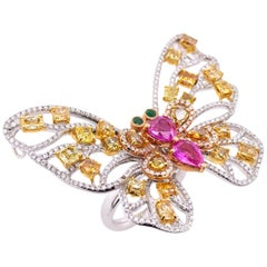 Paris Craft House Fancy Diamond Pink Sapphire Emerald Butterfly Ring in 18K Gold