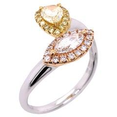 Paris Craft House Fancy Diamond Ring in 18 Karat White/Rose/Yellow Gold