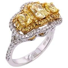 Paris Craft House Fancy Yellow Diamond Three-Stone Ring in 18 Karat Gold