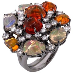 Paris Craft House Fire Opal Diamond Ring in 18 Karat White Gold