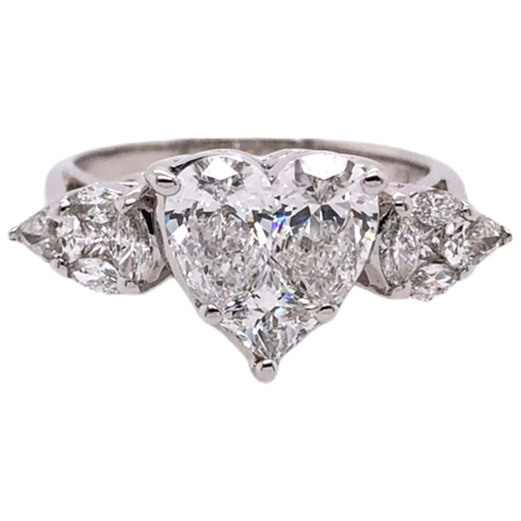Paris Craft House Heart Shaped Diamond Three-Stone Ring in 18 Karat White Gold