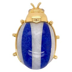 Paris Craft House Lapis Lazuli Ladybird Brooch in 18 Karat Yellow Gold