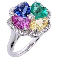 Paris Craft House Multi Sapphire Emerald Heart Ring in 18 Karat White Gold